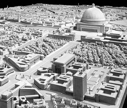 Welthauptstadt model showing the domed Volkshalle, part of Albert Speer's plans for a new Berlin