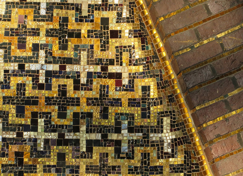 Detail of mosaics and gold tiling, Church at Hohenzollerndammplatz