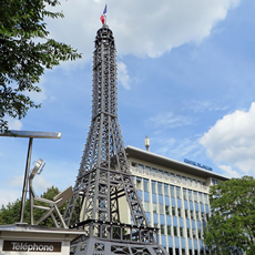 A mini Eiffel Tower at Berlin's French Centre